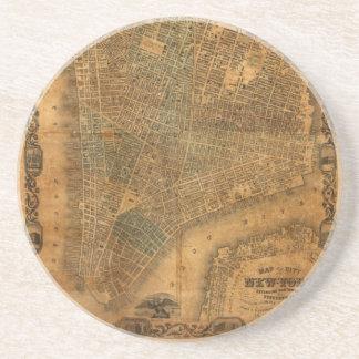 Mapa viejo de New York City en 1852 Posavasos Diseño
