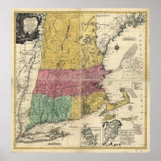 Mapa viejo de Nueva Inglaterra (1777) Póster