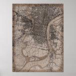 Mapa viejo de Philadelphia 1898 del vintage Poster