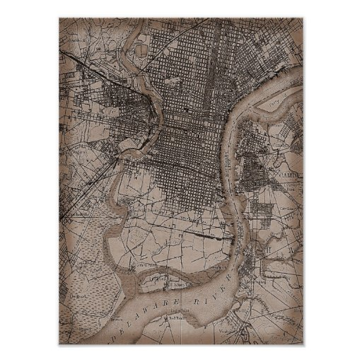 Mapa viejo de Philadelphia 1898 del vintage Póster