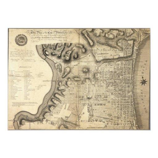 """Mapa viejo de Philadelphia Pennsylvania a partir Invitación 5"""" X 7"""""""