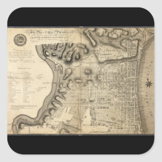Mapa viejo de Philadelphia Pennsylvania a partir Pegatina Cuadrada