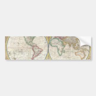 Mapa viejo del mundo etiqueta de parachoque