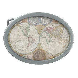 Mapa viejo del mundo hebilla de cinturón