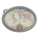 Mapa viejo del mundo hebillas de cinturon ovales