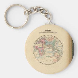 Mapa viejo del mundo llavero redondo tipo pin