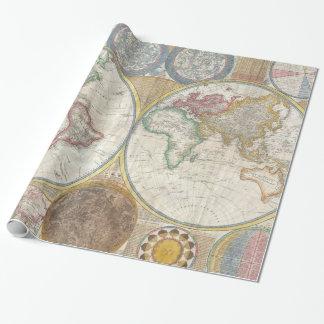 Mapa viejo del mundo papel de regalo