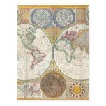 Mapa viejo del mundo postales