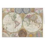 Mapa viejo del mundo tarjeta