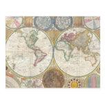 Mapa viejo del mundo tarjetas postales