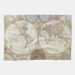 Mapa viejo del mundo toalla de mano