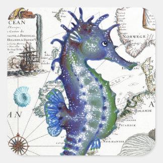 Mapa viejo del Seahorse Pegatina Cuadrada
