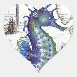 Mapa viejo del Seahorse Pegatina En Forma De Corazón