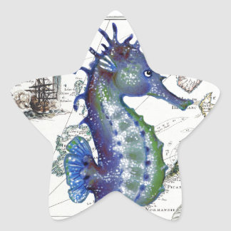 Mapa viejo del Seahorse Pegatina En Forma De Estrella
