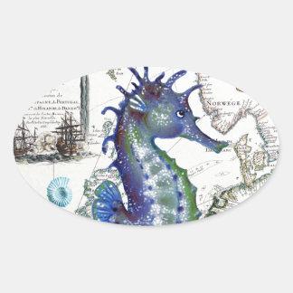Mapa viejo del Seahorse Pegatina Ovalada