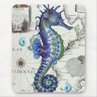 Mapa viejo del Seahorse Tapetes De Raton
