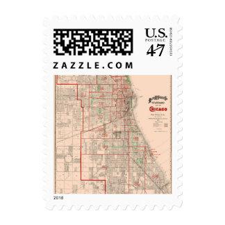Mapa viejo del vintage de Chicago - 1893 Estampilla