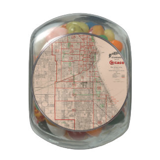 Mapa viejo del vintage de Chicago - 1893 Frascos De Cristal