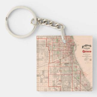 Mapa viejo del vintage de Chicago - 1893 Llavero Cuadrado Acrílico A Doble Cara