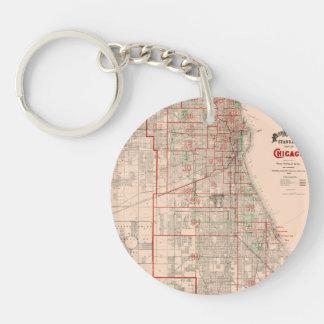 Mapa viejo del vintage de Chicago - 1893 Llavero Redondo Acrílico A Doble Cara