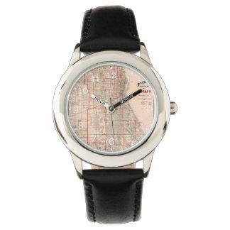 Mapa viejo del vintage de Chicago - 1893 Relojes De Mano