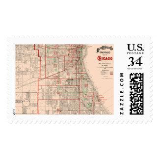Mapa viejo del vintage de Chicago - 1893 Sello Postal