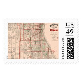 Mapa viejo del vintage de Chicago - 1893 Sellos Postales