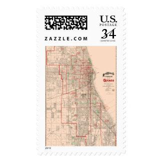 Mapa viejo del vintage de Chicago - 1893 Timbre Postal