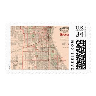 Mapa viejo del vintage de Chicago - 1893 Timbres Postales