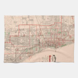 Mapa viejo del vintage de Chicago - 1893 Toallas De Mano