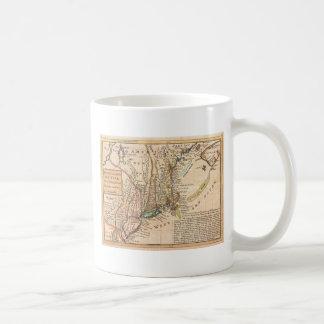 mapa viejo del vintage de Nueva York América Tazas De Café