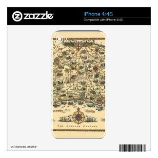 Mapa viejo del vintage skins para iPhone 4