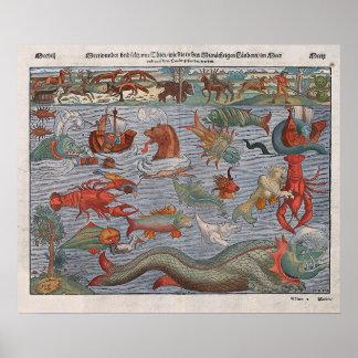 Mapa viejo mítico de los monstruos de mar póster