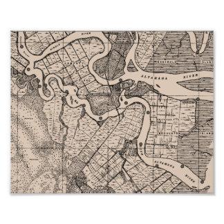Mapa viejo, río de Altamaha, Georgia, los E.E.U.U. Arte Fotográfico