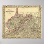 Mapa Virginia Occidental del condado Póster