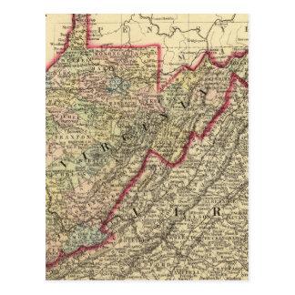 Mapa Virginia Occidental del condado Tarjetas Postales