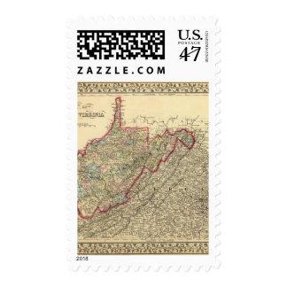 Mapa Virginia Occidental del condado Timbres Postales