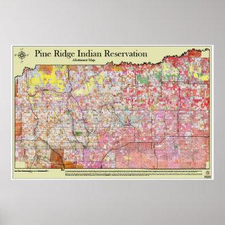 Mapa w/districts de Allottment de la reserva de Ri Póster