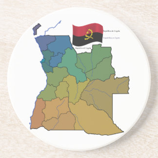 Mapa y bandera de Angola Posavasos Manualidades