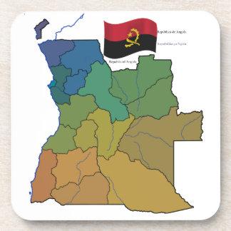 Mapa y bandera de Angola Posavasos De Bebidas