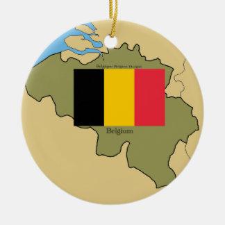 Mapa y bandera de Bélgica Adorno