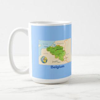 Mapa y bandera de Bélgica Taza De Café