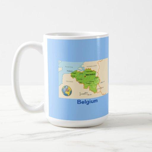 Mapa y bandera de Bélgica Taza Clásica