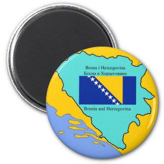 Mapa y bandera de Bosnia y Hercegovina Imán Redondo 5 Cm