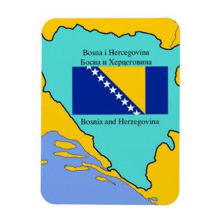 Mapa y bandera de Bosnia y Hercegovina Iman Rectangular