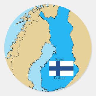 Mapa y bandera de Finlandia Pegatina Redonda