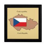 Mapa y bandera de la República Checa Caja De Recuerdo