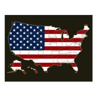 Mapa y bandera de los E.E.U.U. Postales