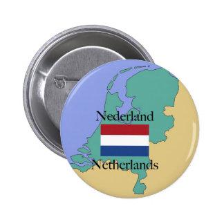 Mapa y bandera de los Países Bajos Pin Redondo De 2 Pulgadas