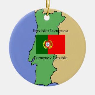 Mapa y bandera de Portugal Adorno Navideño Redondo De Cerámica